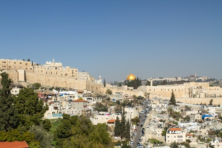 temple mount: Southern Wall of Temple Mount  in Jerusalem. Dome of the Al-Aqsa Mosque . Israel . Stock Photo