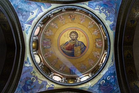 church of the holy sepulchre: Jerusalem , Israel - July 11, 2015 :  The Holy Sepulchre Church in the Old City of Jerusalem. Light goes through the dome of the church.