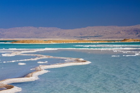 Beautiful photo coast of the Dead Sea , Israel . Bokeh . Banco de Imagens