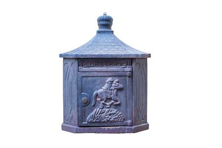 mailbox: Beautiful old mailbox isolated on white background . Stock Photo