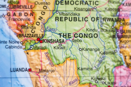 Photo of a map of Democratic Republic of the Congo and the capital Kinshasa .
