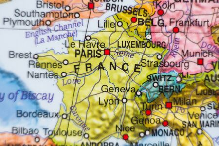 ancestry: Photo of a map of France and the capital Paris . Stock Photo