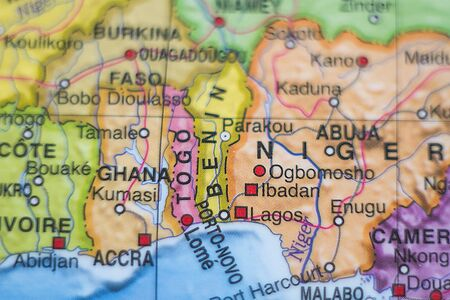 togo: Photo of a map of Togo and the capital Lome .