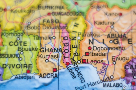 Photo of a map of Ghana and the capital Accra .