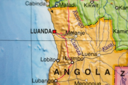 atlantic city: Photo of a map of Republic of Angola and the capital Luanda .
