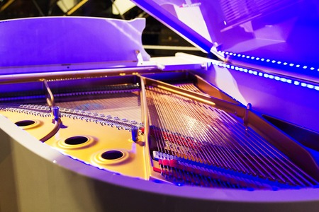 Close-up of piano strings. open the piano lid .