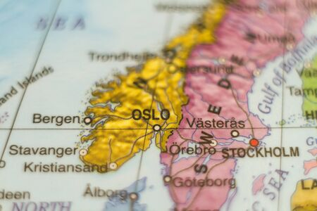 gulf: Photo of a map of Norway and the capital Oslo . Stock Photo