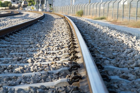 playmates: Beautiful photo of railway tracks in the morning. Stock Photo