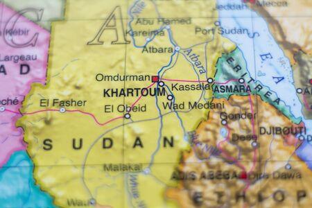 lybia: Beautiful photo of a map of Sudan and the capital Khartoum .