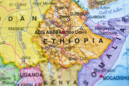 dire: Beautiful photo of a map of Ethiopia and the capital Adis Abeba . Stock Photo