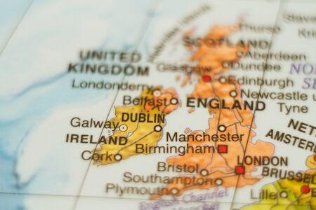 irish cities: Beautiful photo of a map of Ireland and the capital Dublin . Stock Photo