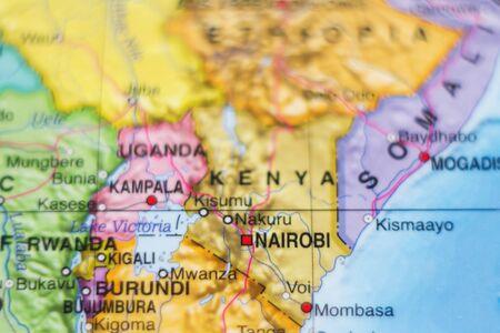 ethiopia abstract: Beautiful photo of a map of Kenya and the capital Nairobi .