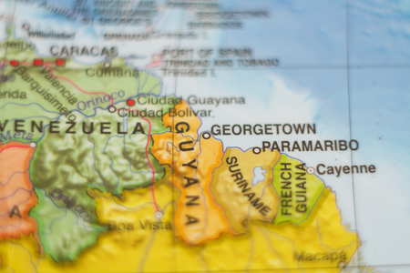georgetown: Beautiful photo of a map of Guyana and the capital Georgetown .