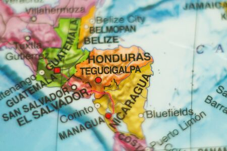 Photo of a map of Honduras and the capital Tegucigalpa . Stock Photo