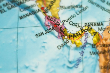 limon: Photo of a map of Costa Rica and the capital San Jose .