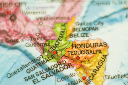 tourism in belize: Photo of a map of Guatemala and the capital Guatemala . Stock Photo