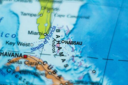 freeport: Photo of a map of Bahamas and the capital Nassau . Stock Photo