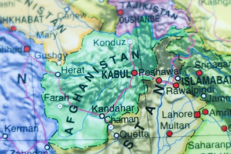 islamabad: Photo of a map of Afghanistan and the capital Kabul . Stock Photo