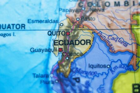 republic of peru: Beautiful photo of a map of Republic of Ecuador and the capital Quito . Stock Photo