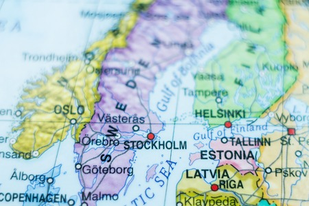 baltic sea: Beautiful photo of a map of Sweden and the capital Stockholm . Stock Photo