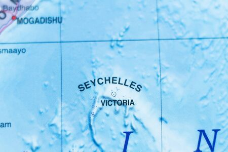 atoll: Photo of a map of Seychelles and the capital Victoria .