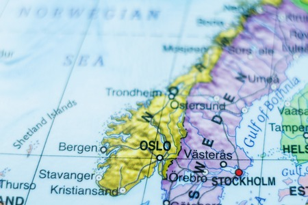 Photo Of A Map Of Norway And The Capital Oslo Stock Photo Picture