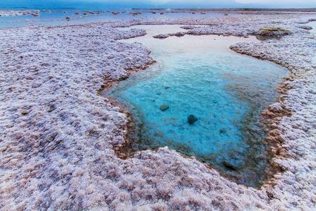 Beautiful photo coast of the Dead Sea , Israel . Bokeh . Stock Photo
