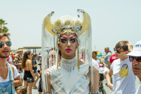 trans gender: Tel-Aviv , Israel - June 3, 2016: Annual Gay Pride Parade and Week of Proud celebrations on the streets June 3, 2016 in Tel Aviv, Israel. Participants of the parade through the streets of Tel Aviv. Editorial