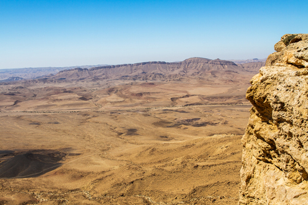 negev: National geological park HaMakhtesh HaRamon - Ramon Crater is the Largest crater- geological erosion land form in Israel .