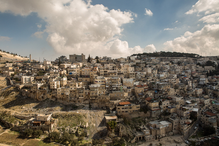 District of East Jerusalem with a predominantly Palestinian population. Adjacent to the Old City from the south, from the Kidron Valley. Stock Photo