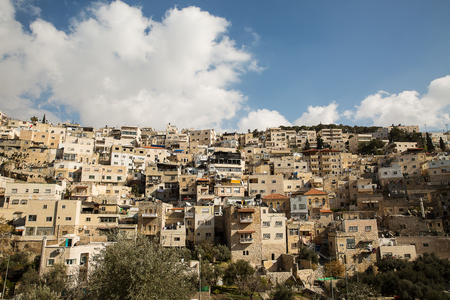 slums: District of East Jerusalem with a predominantly Palestinian population. Adjacent to the Old City from the south, from the Kidron Valley. Stock Photo