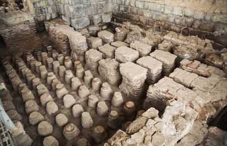 Ruins of amphitheater in the ancient Roman city. Bet She'an National Park, Israel