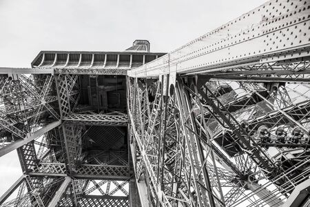 Vew of the Eiffel Tower from below . Paris, France .