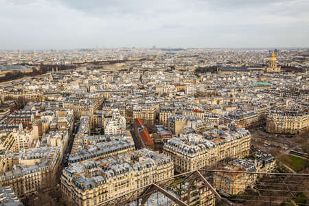 Aerial view of Paris city and Seine river from Eiffel Tower.