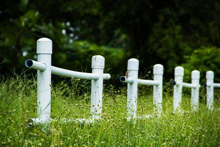 stockade: White Fence in Agriculture Park, Khonkean University, Thailand