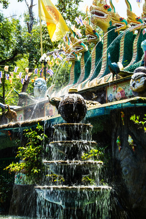 fount: Fountain and great Naga statue in Wat Pa Thamma Utthayan, Khonkean, Thailand Stock Photo