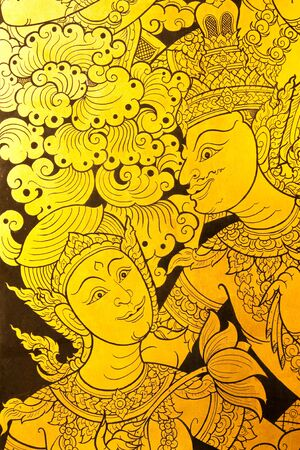 thai style: Detail of traditional Thai style painting in temple. Stock Photo