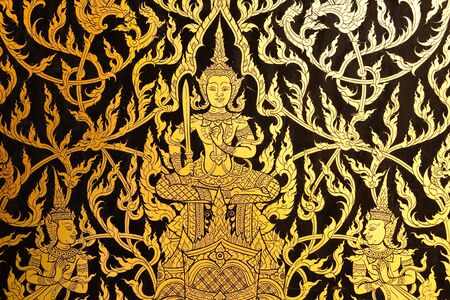 Detail of traditional Thai style painting in temple. Stock Photo