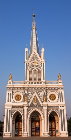 Over 100 years old Gothic style church, Ratchaburi province, Thailand. photo