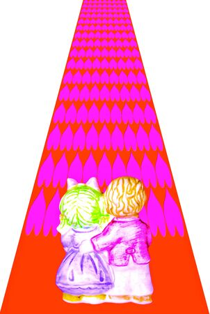 Couple ceramic doll on the red road with pink hearts. photo