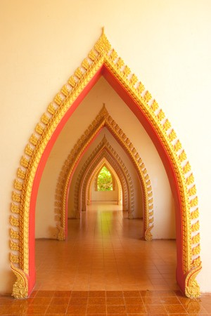 Arc in Buddhist temple, Kanjanaburi, Thailand. photo