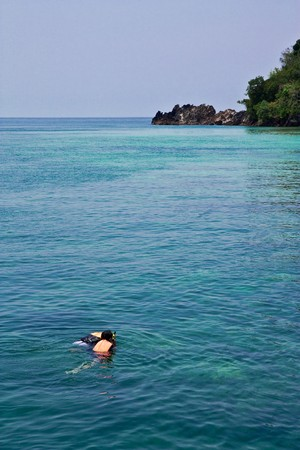 Scuba diving in southern Thai sea photo