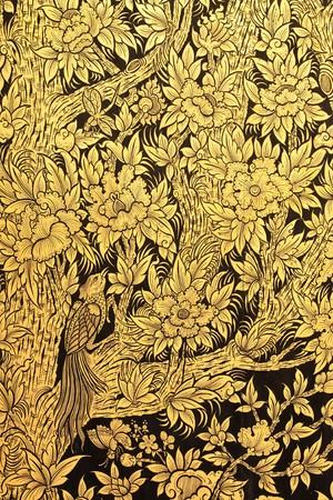 church flower: Uccelli e fiori nella foresta, nella pittura tradizionale tailandese arte Archivio Fotografico