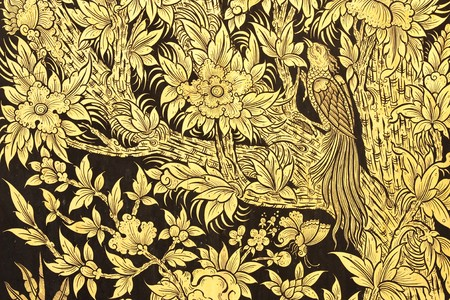 Bird and flower in forest, painting in traditional Thai art