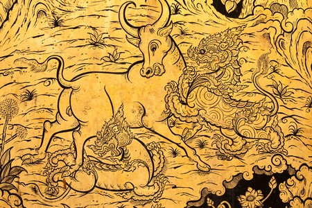 Fairy tale animals in traditional Thai style painting art Stock Photo - 4585155