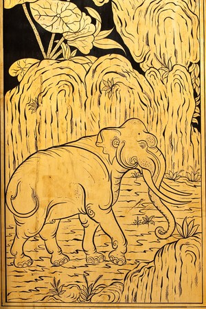 Elephant in traditional Thai style painting art photo