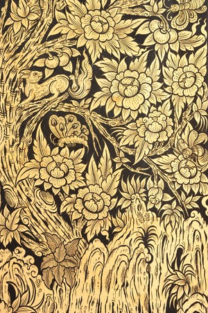 thai ethnicity: Flower in traditional Thai style paingting art