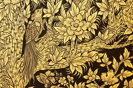 Flower and bird in  traditional Thai style painting art Stock Photo