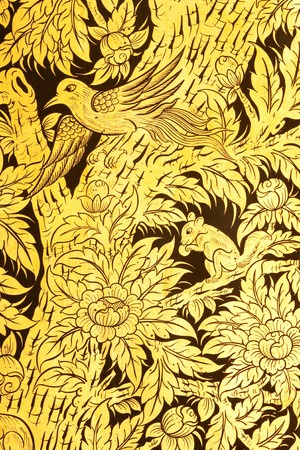 Flower and bird in  traditional Thai style painting art Stock Photo - 4585174