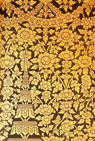 thai door: Flower in traditional Thai style painting art Stock Photo